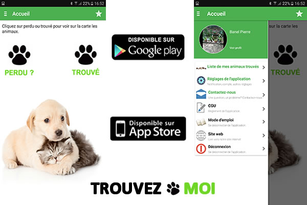 Application Trouvezmoi sur Android et Iphone
